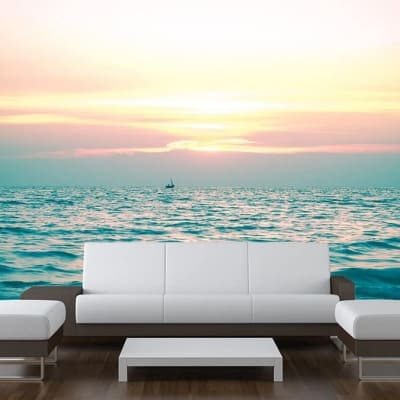Sea Sunset Boat Wall Mural