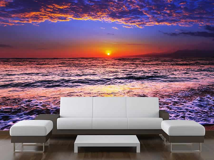 sea sunset wall mural made to measure wall murals. Black Bedroom Furniture Sets. Home Design Ideas