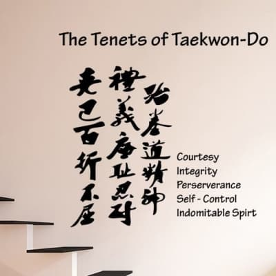 The Tenets of Taekwon-Do wall decal sticker