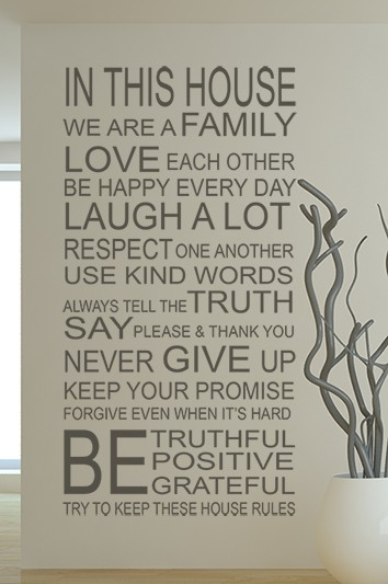 House Rules We Are Family Wall Decal Sticker