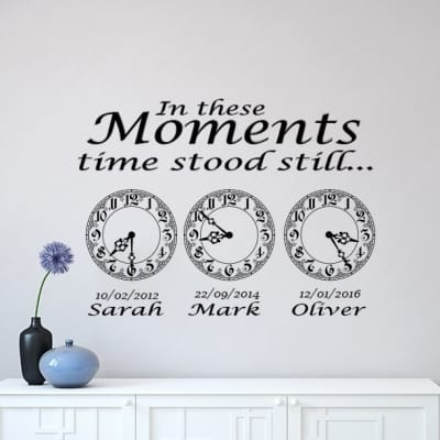 In these moments time stood still memory clock wall decal