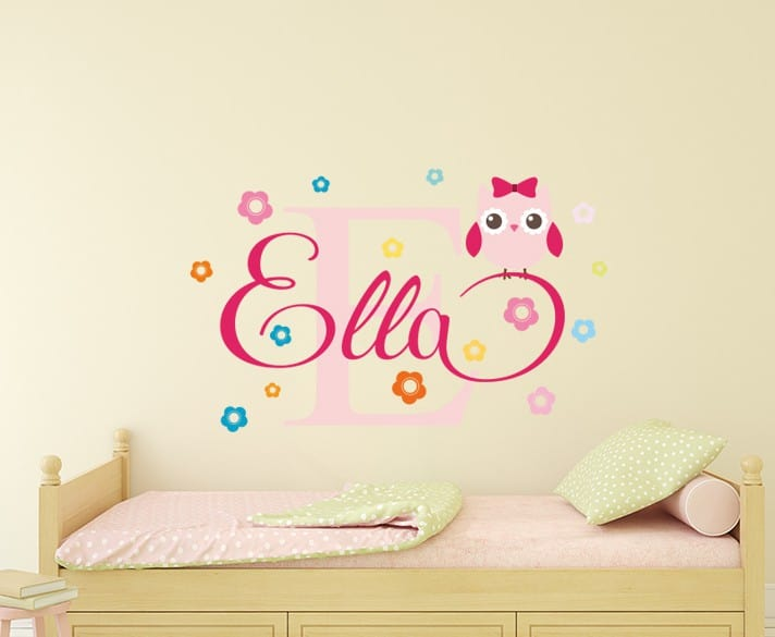 Personalised Flowery Owl Name Wall Decal Nursery Stickers Children S Decals
