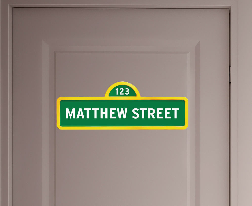 Personalised sesame street sign name wall decal
