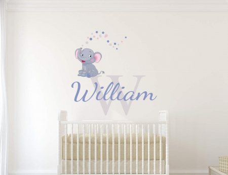 Personalised name elephant wall decal