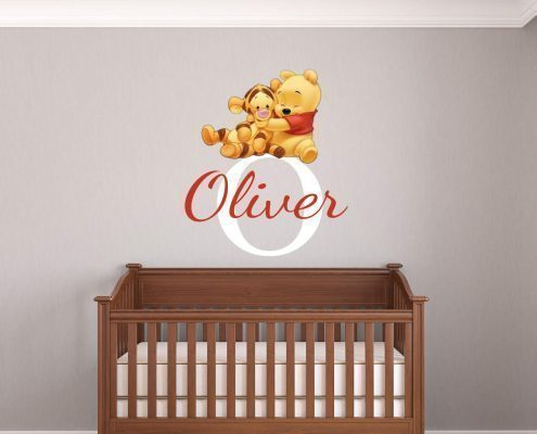 Personalised baby Pooh and Tigger name wall decal