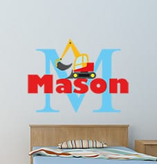 Personalised digger name wall sticker