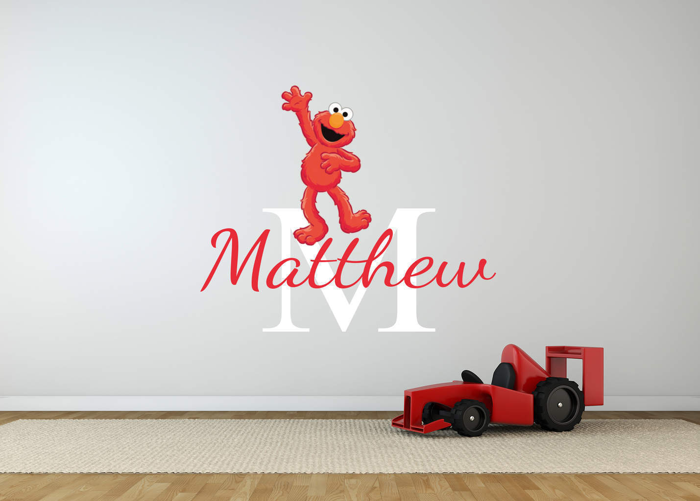 Personalised elmo name wall decal sticker for Elmo wall mural
