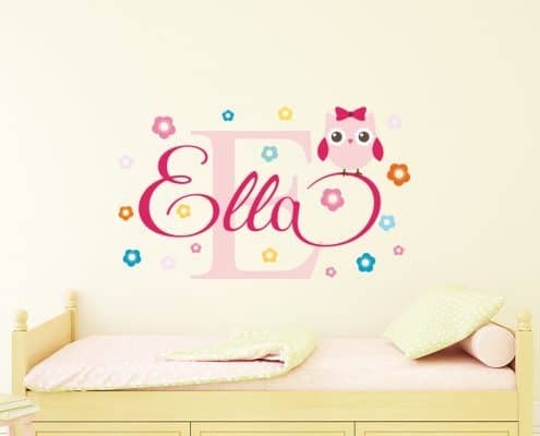 Personalised flowery owl name wall decal, Name Wall Decal, Flamingo Wall Decal for Girls room, Flamingo Wall Stickers, Nursery owl decal sticker, Wall Art Baby Name Wall Decals, Girls Wall Decals, Name stickers for girls rooms, Personalized Baby Nursery Name, BABY NAME WALL DECAL