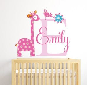 Personalised giraffe name wall decal