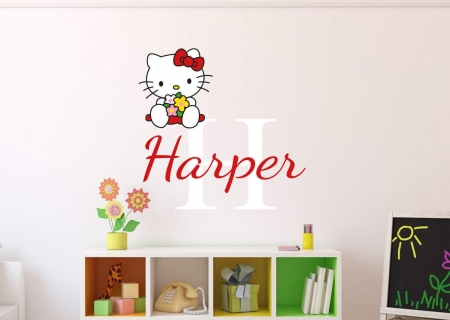 Personalised name hello kitty wall decal