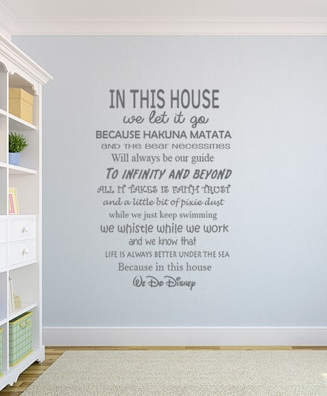 House Rules We Do Disney Wall Decal Sticker Part 44