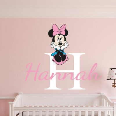 Personalised name minnie mouse wall decal