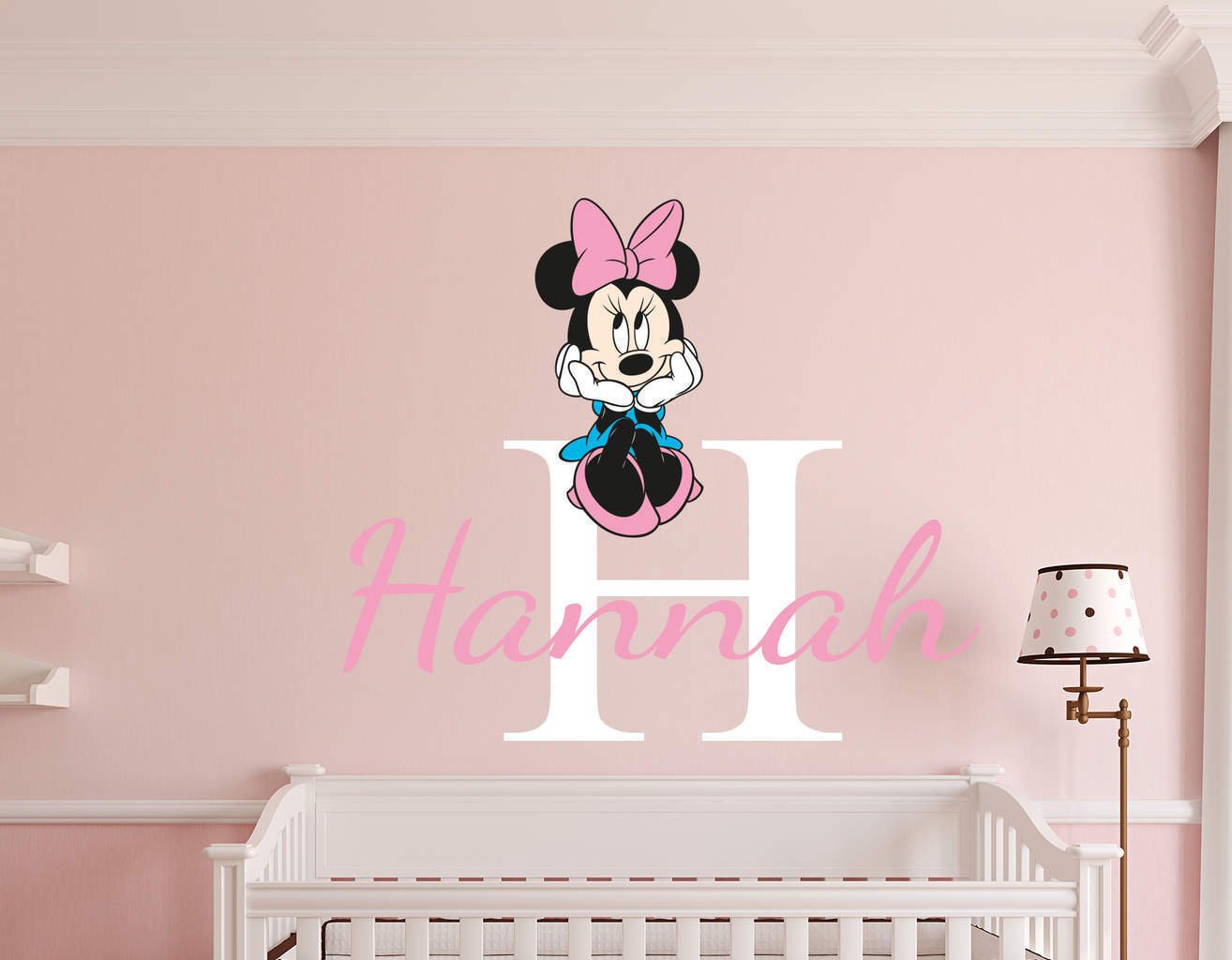 personalised name minnie mouse wall decal. Black Bedroom Furniture Sets. Home Design Ideas