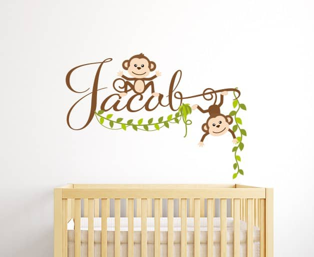 personalised monkey name wall sticker