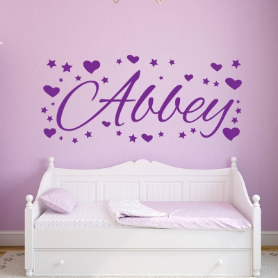 Personalised name hearts and stars wall decal