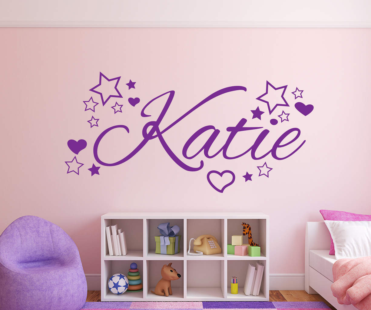 Personalised name stars and hearts wall decal