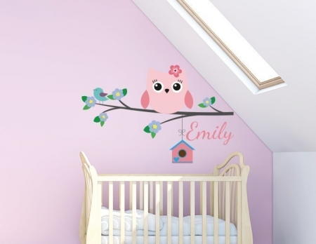 Personalised owl and bird branch name decal
