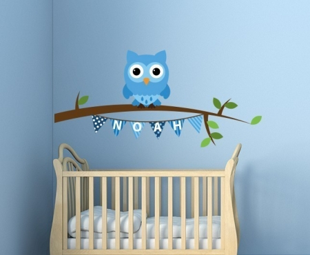 Personalised owl branch name decal