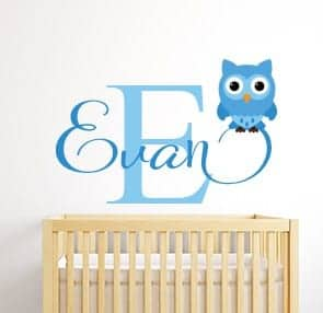 Personalised owl name wall decal sticker