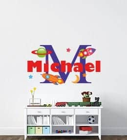 Personalised space name wall sticker