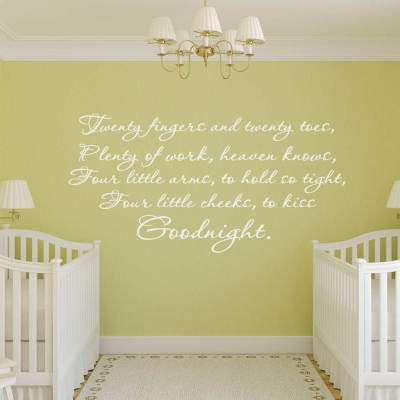 Twenty fingers and twenty toes wall decal sticker