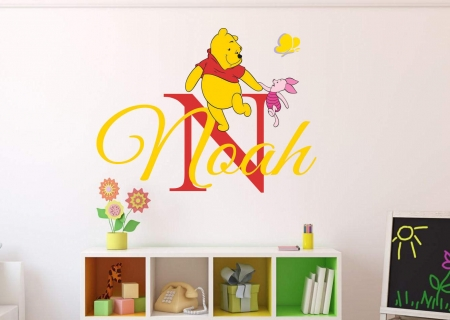 Personalised name winnie and piglet wall decal