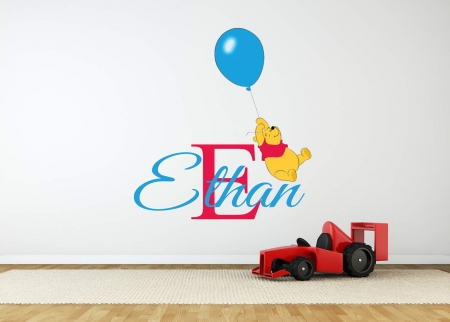 Personalised name winnie the pooh balloon wall decal
