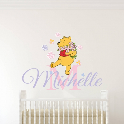 Personalised name winnie the pooh wall decal