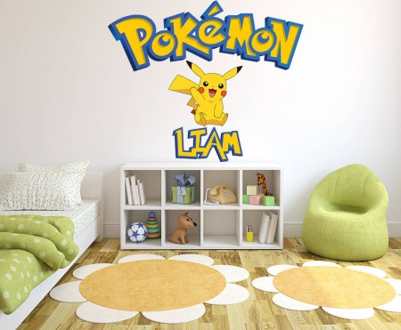 Personalised Pokemon Pikachu Wall Decal Sticker
