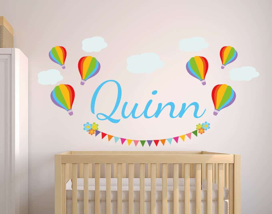 Personalised Balloon and Clouds Name Wall Decal Sticker