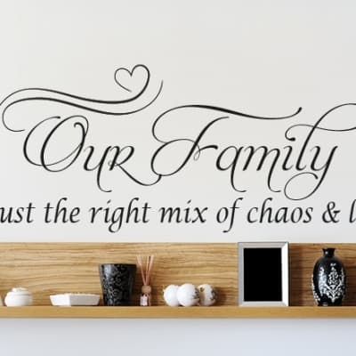 Our Family Chaos and Love Wall Decal Sticker
