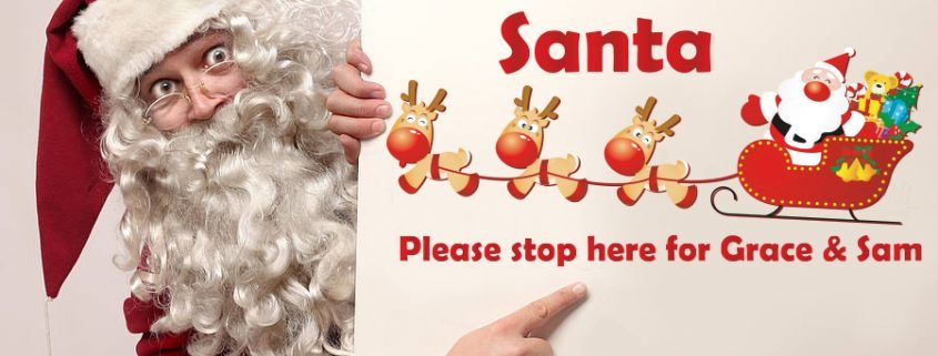 Santa stop here personalised wall sticker, Christmas wall stickers