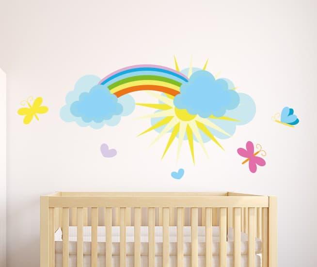 Rainbow and butterflies wall sticker