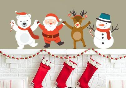 Santa, Ruldof, Snowman and Polarbear Wall Sticker