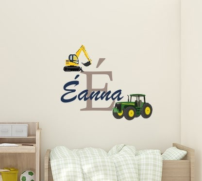 Personalised tractor digger name wall sticker, Boys Room Wall Decals & Stickers