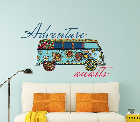 Adventure Awaits Campervan Wall Sticker