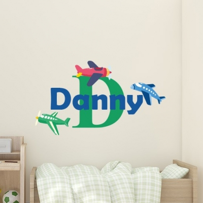 Personalised Airplane Name Wall Sticker