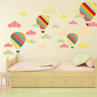 Balloon and Clouds Wall Sticker Set