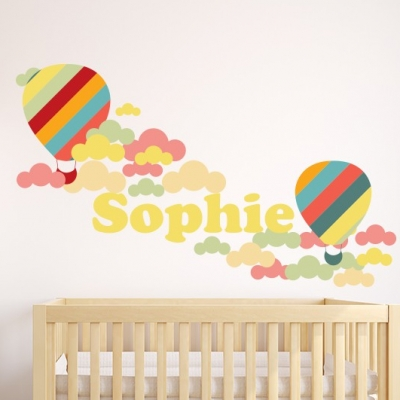 Personalised Balloon and Clouds Name Wall Sticker
