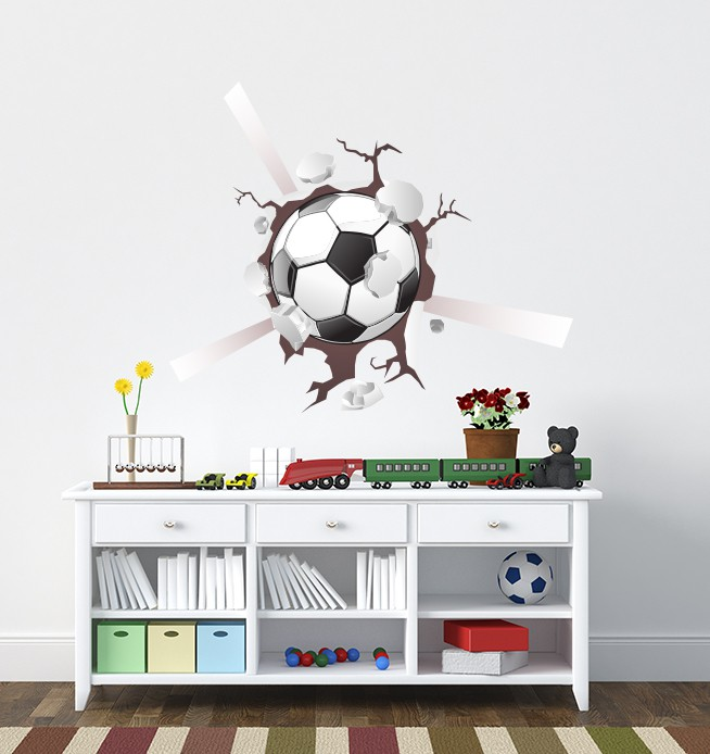 Football Smashing 3d Wall Sticker