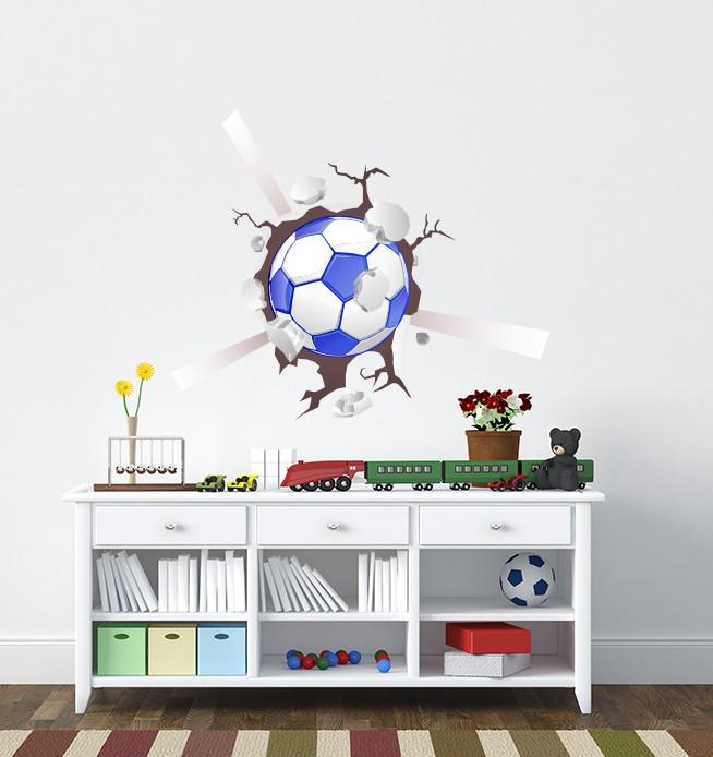 Football Smashing 3d Wall Sticker
