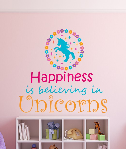 aaacccf64eb7 Add some magic with this Believe in Unicorns Wall Sticker by eydecals