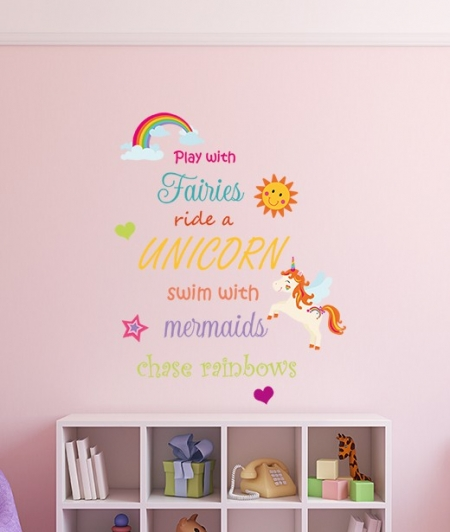 Fairies, Unicorns, Mermaids and Rainbow Wall Sticker