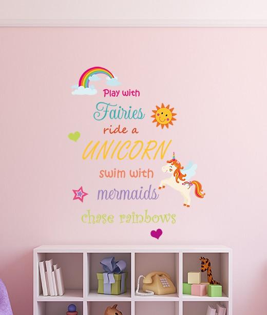 Fairies, Unicorns, Mermaids and Rainbow Wall Sticker