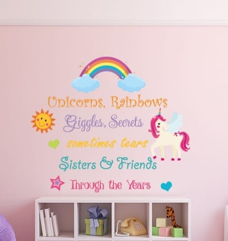 Unicorns and Rainbows Sisters Wall Sticker by eydecals