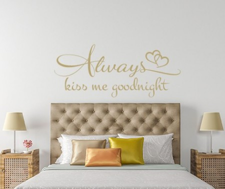 Always Kiss Me Goodnight Wall Decal, Love wall sticker