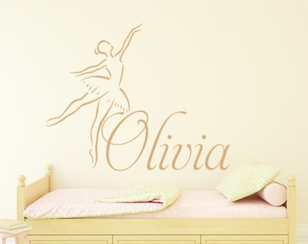 Ballerina Name Wall Decal Sticker