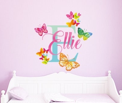 Personalised Watercolor Butterfly Name Wall Decal
