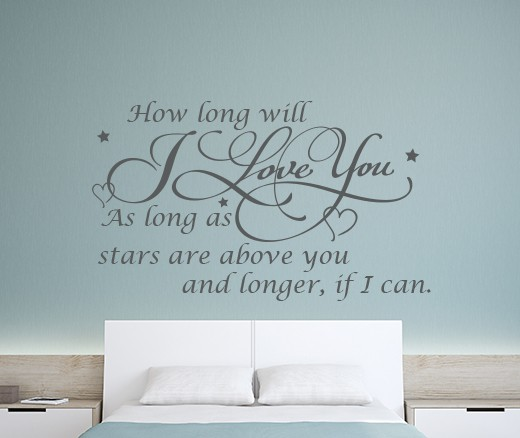 Add Romance With This How Long Will I Love You Wall Sticker