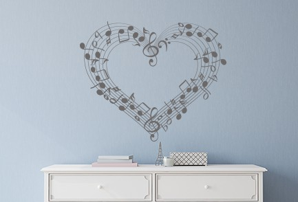 Music Note Heart Wall Decal